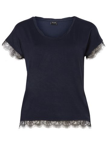 Womens **Vila Navy Lace Trim T Shirt Blue - neckline: round neck; pattern: plain; style: t-shirt; predominant colour: navy; occasions: casual, creative work; length: standard; fibres: viscose/rayon - stretch; fit: body skimming; sleeve length: short sleeve; sleeve style: standard; pattern type: fabric; texture group: jersey - stretchy/drapey; embellishment: lace; season: s/s 2016; wardrobe: highlight