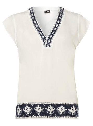 Womens **Vila White Border Print Top White - neckline: v-neck; sleeve style: capped; length: below the bottom; predominant colour: white; secondary colour: navy; occasions: casual, creative work; style: top; fibres: viscose/rayon - 100%; fit: loose; sleeve length: short sleeve; pattern type: fabric; pattern size: standard; pattern: patterned/print; texture group: woven light midweight; season: s/s 2016; wardrobe: highlight