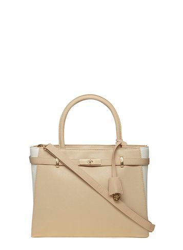 Womens Cream Summer Belted Tote Bag Cream - predominant colour: camel; occasions: work, creative work; type of pattern: light; style: tote; length: handle; size: standard; material: faux leather; pattern: plain; finish: plain; season: s/s 2016; wardrobe: investment