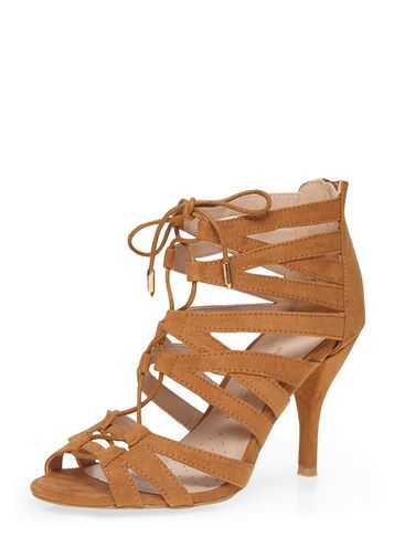 Womens Wide Fit Tan 'winns' Ghillie Sandals Brown - predominant colour: tan; occasions: casual; heel height: mid; heel: standard; toe: open toe/peeptoe; style: strappy; finish: plain; pattern: plain; material: faux suede; season: s/s 2016; wardrobe: highlight