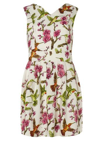 Womens **Mela Multi Bird Branch Dress Multi Colour - style: shift; neckline: v-neck; sleeve style: sleeveless; predominant colour: ivory/cream; secondary colour: magenta; length: just above the knee; fit: body skimming; fibres: polyester/polyamide - 100%; occasions: occasion; sleeve length: sleeveless; pattern type: fabric; pattern: patterned/print; texture group: other - light to midweight; multicoloured: multicoloured; season: s/s 2016; wardrobe: event