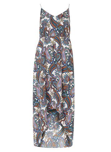 Womens **Mela White Paisley Print Maxi Dress White - neckline: low v-neck; sleeve style: spaghetti straps; style: maxi dress; length: ankle length; pattern: paisley; predominant colour: white; secondary colour: mid grey; occasions: evening; fit: body skimming; fibres: polyester/polyamide - 100%; sleeve length: sleeveless; pattern type: fabric; pattern size: big & busy; texture group: jersey - stretchy/drapey; multicoloured: multicoloured; season: s/s 2016