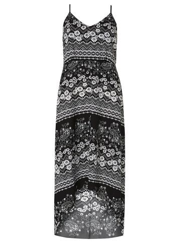 Womens **Mela Black Daisy Print Maxi Dress Black - neckline: v-neck; sleeve style: spaghetti straps; style: maxi dress; length: ankle length; secondary colour: mid grey; predominant colour: black; occasions: evening; fit: body skimming; fibres: polyester/polyamide - 100%; sleeve length: sleeveless; pattern type: fabric; pattern: florals; texture group: jersey - stretchy/drapey; multicoloured: multicoloured; season: s/s 2016; wardrobe: event