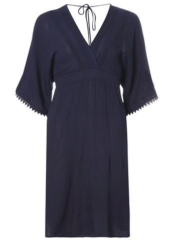 Womens **Tall Kimono Sleeve Midi Dress Blue - style: faux wrap/wrap; neckline: v-neck; pattern: plain; sleeve style: kimono; back detail: back revealing; predominant colour: navy; occasions: evening; length: on the knee; fit: body skimming; fibres: viscose/rayon - 100%; sleeve length: half sleeve; pattern type: fabric; texture group: woven light midweight; embellishment: lace; season: s/s 2016; wardrobe: event; embellishment location: trim
