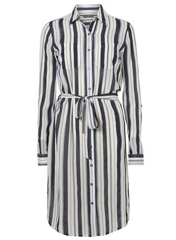 Womens **Tall Striped Shirt Dress Blue - style: shirt; neckline: shirt collar/peter pan/zip with opening; pattern: striped; waist detail: belted waist/tie at waist/drawstring; predominant colour: ivory/cream; secondary colour: navy; occasions: casual; length: on the knee; fit: body skimming; sleeve length: long sleeve; sleeve style: standard; pattern type: fabric; texture group: other - light to midweight; fibres: viscose/rayon - mix; multicoloured: multicoloured; season: s/s 2016