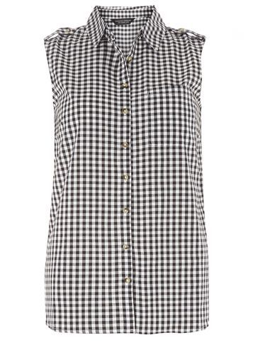 Womens Sleeveless Gingham Shirt Black - neckline: shirt collar/peter pan/zip with opening; sleeve style: sleeveless; pattern: checked/gingham; shoulder detail: obvious epaulette; length: below the bottom; style: shirt; secondary colour: white; predominant colour: black; occasions: casual, creative work; fibres: cotton - 100%; fit: body skimming; sleeve length: sleeveless; texture group: cotton feel fabrics; pattern type: fabric; pattern size: big & busy (top); season: s/s 2016; wardrobe: highlight