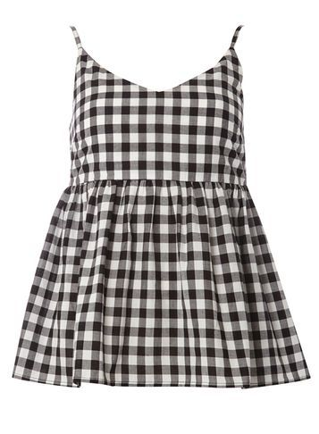Womens **Tall Gingham Peplum Cami Top Black - neckline: low v-neck; sleeve style: spaghetti straps; pattern: checked/gingham; style: camisole; secondary colour: white; predominant colour: black; occasions: casual; length: standard; fibres: cotton - 100%; fit: loose; sleeve length: sleeveless; trends: monochrome; texture group: cotton feel fabrics; pattern type: fabric; pattern size: standard; season: s/s 2016; wardrobe: highlight