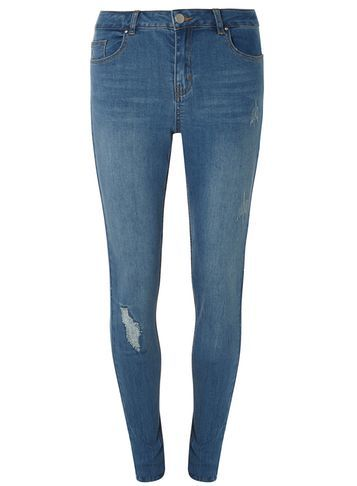 Womens **Tall Lightwash Rip And Repair Skinny Jeans Blue - length: standard; pattern: plain; pocket detail: traditional 5 pocket; style: slim leg; waist: mid/regular rise; predominant colour: denim; occasions: casual; fibres: cotton - stretch; jeans detail: shading down centre of thigh; texture group: denim; pattern type: fabric; season: s/s 2016; wardrobe: basic