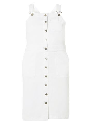 Womens White Denim Dungaree Pinafore Dress White - neckline: round neck; pattern: plain; sleeve style: sleeveless; style: dungaree dress/pinafore; predominant colour: white; occasions: casual; length: just above the knee; fit: body skimming; fibres: cotton - stretch; sleeve length: sleeveless; texture group: denim; pattern type: fabric; season: s/s 2016; wardrobe: highlight