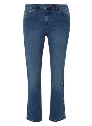 Womens **Tall Cropped Fasion Kickflare Jeans Blue - pattern: plain; pocket detail: traditional 5 pocket; style: slim leg; waist: mid/regular rise; predominant colour: denim; occasions: casual; length: calf length; fibres: cotton - stretch; texture group: denim; pattern type: fabric; season: s/s 2016; wardrobe: basic