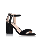 Gigi - predominant colour: black; occasions: evening; material: suede; heel height: mid; ankle detail: ankle strap; heel: block; toe: open toe/peeptoe; style: standard; finish: plain; pattern: plain; season: s/s 2016; wardrobe: event
