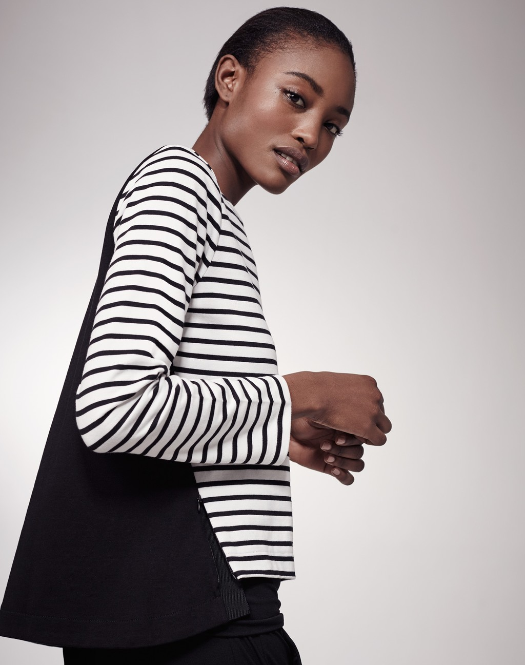 Boxy Breton Top White/Black - pattern: horizontal stripes; predominant colour: white; secondary colour: black; occasions: casual; length: standard; style: top; fibres: cotton - 100%; fit: body skimming; neckline: crew; sleeve length: long sleeve; sleeve style: standard; pattern type: fabric; pattern size: standard; texture group: jersey - stretchy/drapey; multicoloured: multicoloured; season: s/s 2016; wardrobe: basic