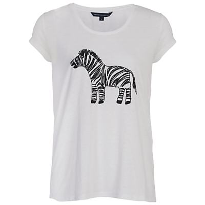 Zebbie Embellished T Shirt, Winter White - style: t-shirt; predominant colour: white; secondary colour: black; occasions: casual; length: standard; fibres: polyester/polyamide - mix; fit: body skimming; neckline: crew; sleeve length: short sleeve; sleeve style: standard; pattern type: fabric; pattern size: light/subtle; pattern: animal print; texture group: jersey - stretchy/drapey; multicoloured: multicoloured; season: s/s 2016; wardrobe: highlight