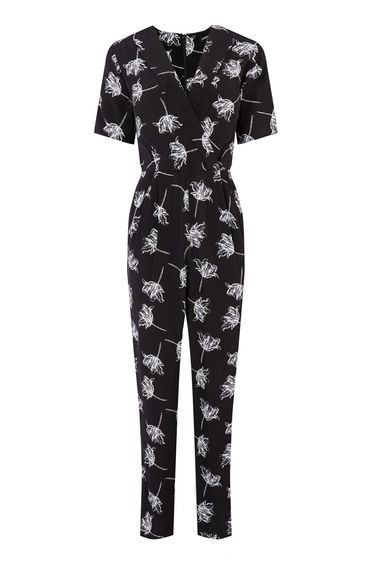 Stencil Floral Jumpsuit - length: standard; neckline: v-neck; secondary colour: light grey; predominant colour: black; occasions: casual; fit: body skimming; fibres: viscose/rayon - 100%; sleeve length: short sleeve; sleeve style: standard; style: jumpsuit; pattern type: fabric; pattern size: standard; pattern: patterned/print; texture group: jersey - stretchy/drapey; season: s/s 2016; wardrobe: highlight