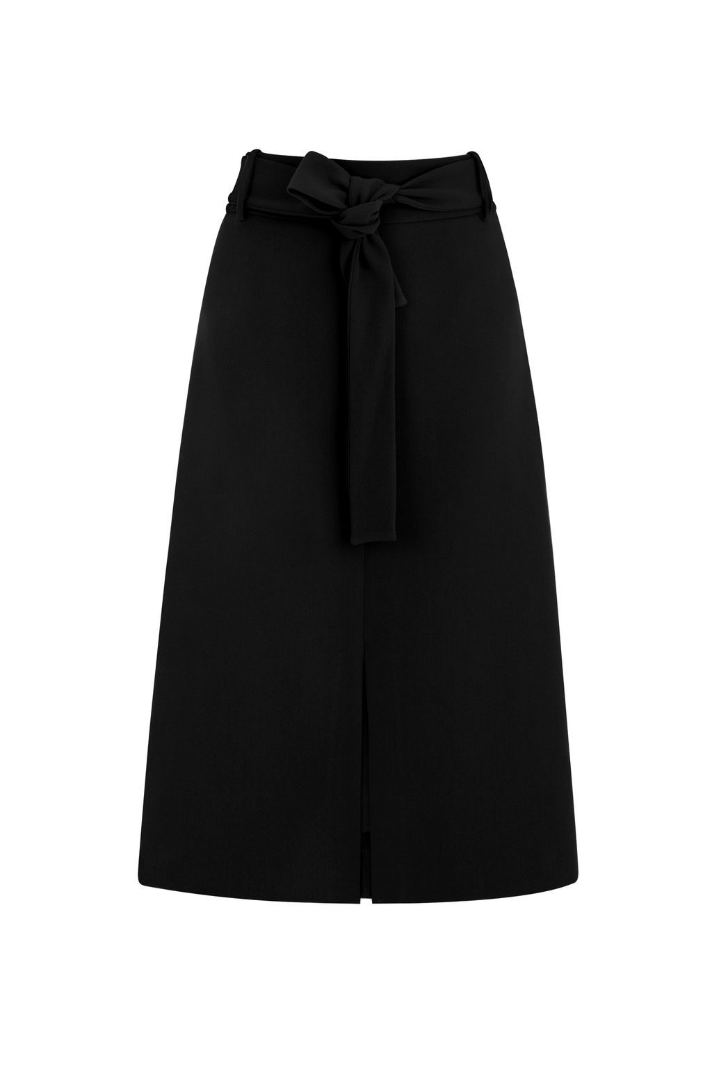 Belted Midi Skirt, Black - length: below the knee; pattern: plain; fit: loose/voluminous; waist: high rise; predominant colour: black; occasions: work; style: a-line; fibres: polyester/polyamide - mix; pattern type: fabric; texture group: jersey - stretchy/drapey; season: s/s 2016