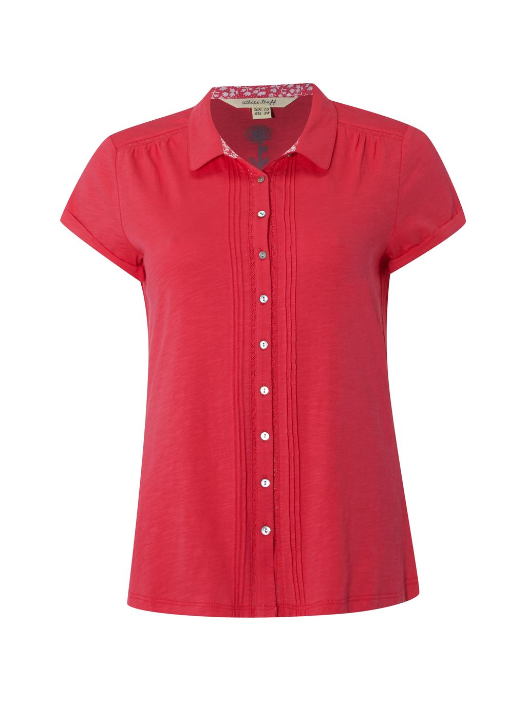 Ss Saskia Shirt, Pink - neckline: shirt collar/peter pan/zip with opening; pattern: plain; style: shirt; predominant colour: hot pink; occasions: casual; length: standard; fibres: cotton - 100%; fit: body skimming; sleeve length: short sleeve; sleeve style: standard; texture group: cotton feel fabrics; pattern type: fabric; season: s/s 2016; wardrobe: highlight