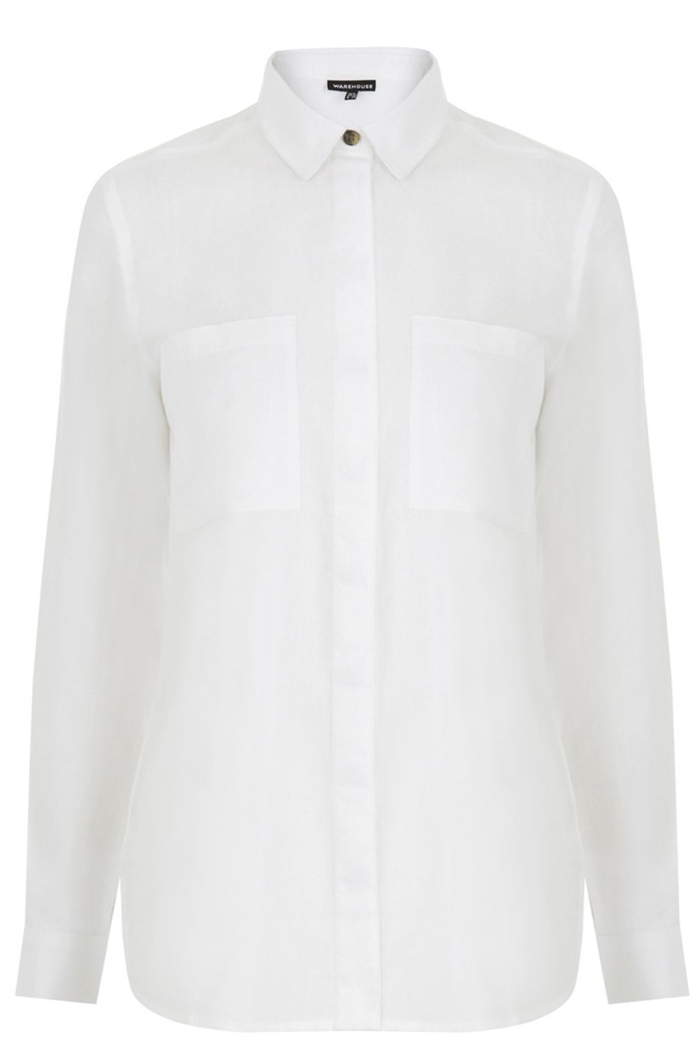 Relaxed Curved Hem Shirt, White - neckline: shirt collar/peter pan/zip with opening; pattern: plain; style: shirt; bust detail: pocket detail at bust; predominant colour: white; occasions: casual, creative work; length: standard; fibres: cotton - 100%; fit: straight cut; sleeve length: long sleeve; sleeve style: standard; texture group: cotton feel fabrics; pattern type: fabric; season: s/s 2016