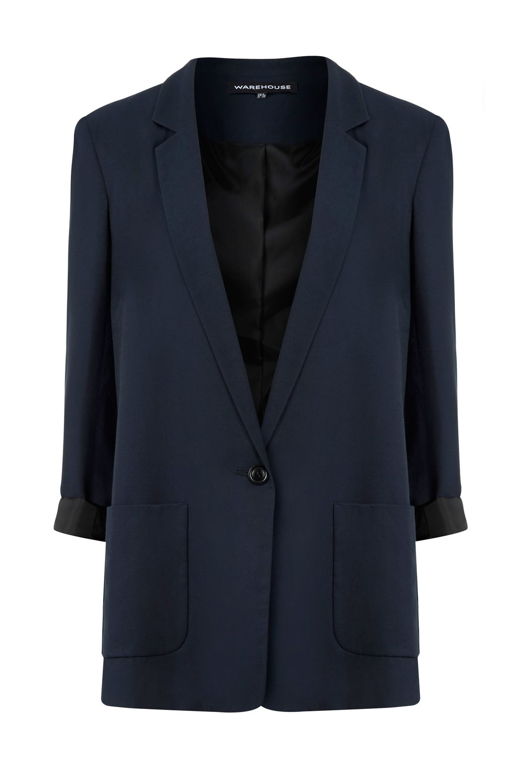 Soft Boyfriend Jacket, Navy - pattern: plain; style: single breasted blazer; length: below the bottom; collar: standard lapel/rever collar; predominant colour: navy; occasions: evening, creative work; fit: tailored/fitted; fibres: polyester/polyamide - 100%; sleeve length: 3/4 length; sleeve style: standard; texture group: crepes; collar break: low/open; pattern type: fabric; season: s/s 2016; wardrobe: highlight; embellishment location: hip