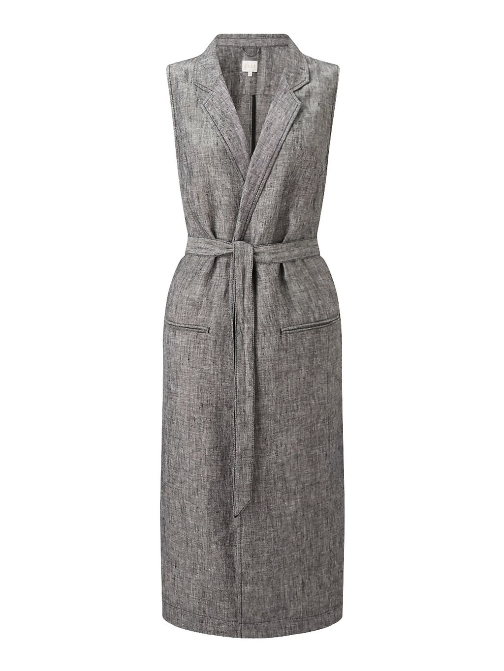 Longline Linen Waistcoat, Black - sleeve style: sleeveless; collar: standard lapel/rever collar; length: below the knee; predominant colour: mid grey; occasions: casual, creative work; fit: tailored/fitted; fibres: linen - 100%; style: waistcoat; waist detail: belted waist/tie at waist/drawstring; sleeve length: sleeveless; collar break: medium; pattern type: fabric; pattern size: standard; texture group: other - light to midweight; pattern: marl; season: s/s 2016