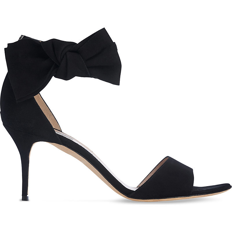 Agata Bow Embellished Leather Sandals, Women's, Eur 41 / 8 Uk Women, Bla Black - predominant colour: black; occasions: evening, creative work; material: suede; heel height: high; ankle detail: ankle strap; heel: stiletto; toe: open toe/peeptoe; style: strappy; finish: plain; pattern: plain; embellishment: bow; season: s/s 2016; wardrobe: highlight