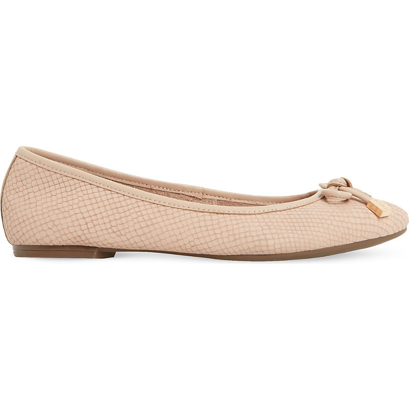 Hero Reptile Effect Leather Ballet Shoes, Women's, Eur 38 / 5 Uk Women, Blush Reptile - predominant colour: nude; occasions: casual, creative work; material: leather; heel height: flat; toe: round toe; style: ballerinas / pumps; finish: plain; pattern: plain; embellishment: bow; season: s/s 2016; wardrobe: basic