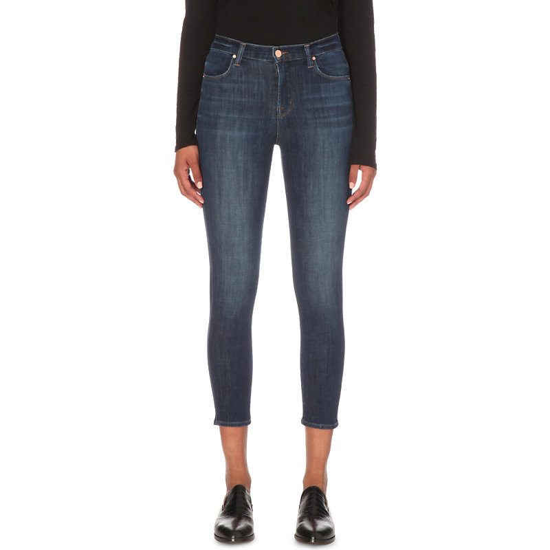 Alana Cropped Skinny High Rise Jeans, Women's, Thrill - style: skinny leg; pattern: plain; waist: high rise; pocket detail: traditional 5 pocket; predominant colour: navy; occasions: casual; length: calf length; fibres: cotton - stretch; jeans detail: shading down centre of thigh; texture group: denim; pattern type: fabric; season: s/s 2016; wardrobe: basic