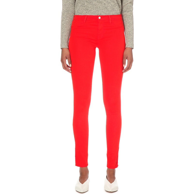 Luxe Sateen Skinny Mid Rise Jeans, Women's, Grenadine - style: skinny leg; length: standard; pattern: plain; waist: high rise; pocket detail: traditional 5 pocket; predominant colour: true red; occasions: casual; fibres: cotton - stretch; texture group: denim; pattern type: fabric; season: s/s 2016; wardrobe: highlight