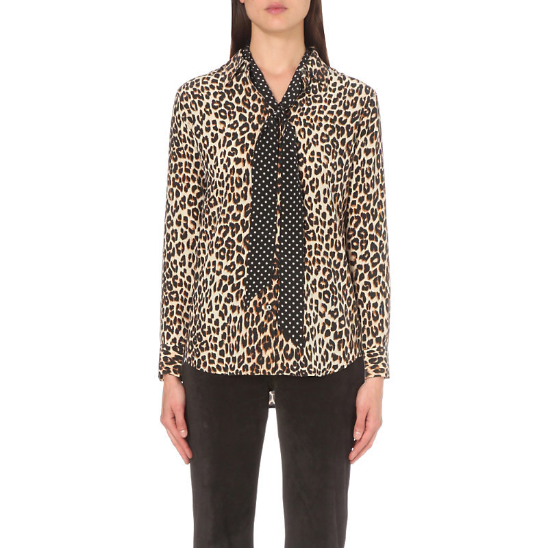 Slim Signature Leopard Print Silk Shirt, Women's, Size: Xs, Natural - bust detail: pocket detail at bust; neckline: pussy bow; style: blouse; predominant colour: ivory/cream; secondary colour: camel; occasions: evening; length: standard; fibres: silk - 100%; fit: body skimming; sleeve length: long sleeve; sleeve style: standard; texture group: silky - light; pattern type: fabric; pattern: animal print; multicoloured: multicoloured; season: s/s 2016; wardrobe: event