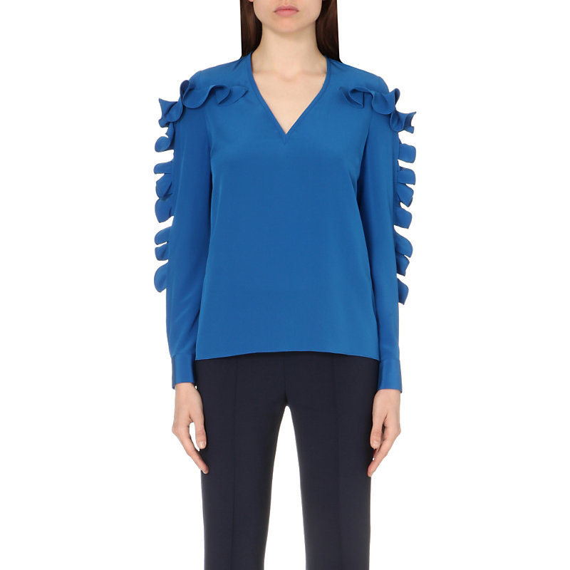 Ruffle Detail Silk Top, Women's, Blue - neckline: v-neck; pattern: plain; predominant colour: diva blue; occasions: casual, creative work; length: standard; style: top; fibres: silk - 100%; fit: body skimming; shoulder detail: added shoulder detail; sleeve length: long sleeve; sleeve style: standard; texture group: silky - light; pattern type: fabric; season: s/s 2016; wardrobe: highlight