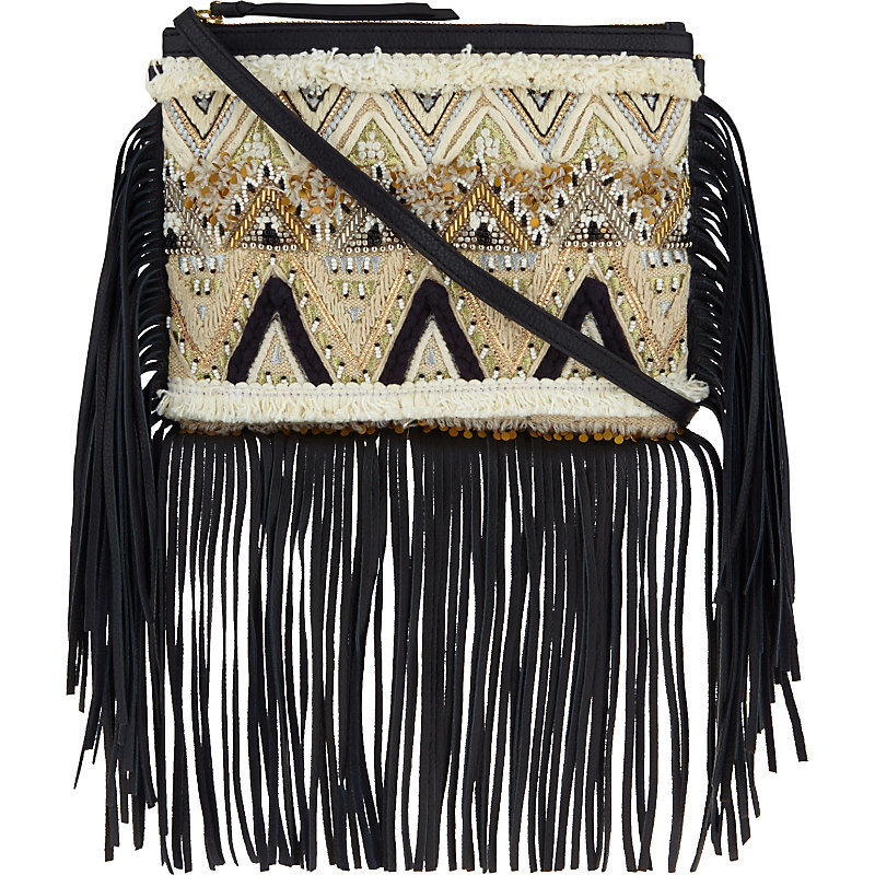 Taj Fringe Cross Body Bag, Women's, Black/White - secondary colour: stone; predominant colour: black; occasions: casual, holiday; type of pattern: light; style: shoulder; length: across body/long; size: standard; material: suede; embellishment: fringing; finish: plain; pattern: patterned/print; multicoloured: multicoloured; season: s/s 2016