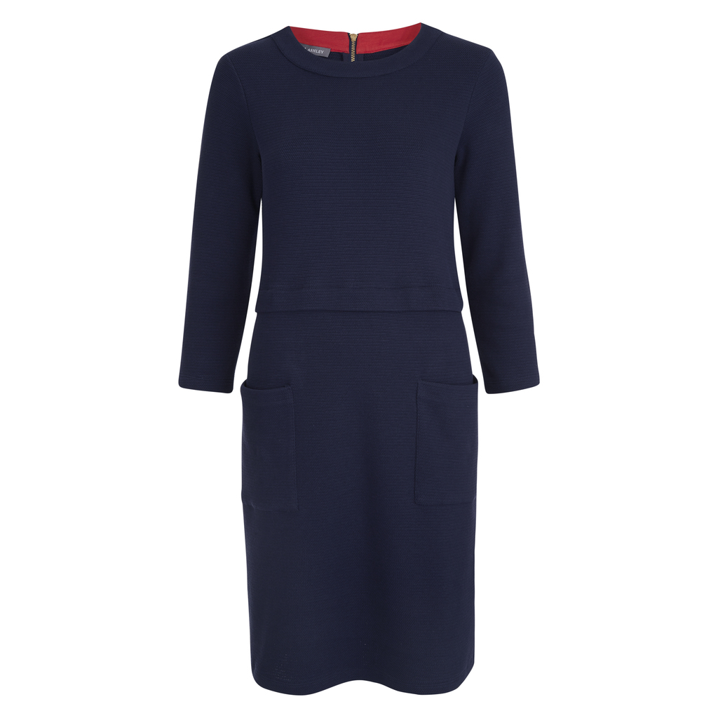 Midi Ponte Dress - style: tunic; pattern: plain; hip detail: front pockets at hip; predominant colour: navy; occasions: casual, creative work; length: just above the knee; fit: straight cut; fibres: cotton - stretch; neckline: crew; sleeve length: 3/4 length; sleeve style: standard; pattern type: fabric; texture group: other - light to midweight; season: s/s 2016; wardrobe: basic