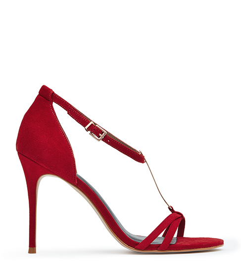 Ariana T Bar Sandals - predominant colour: true red; occasions: evening, occasion; material: suede; heel height: high; ankle detail: ankle strap; heel: stiletto; toe: open toe/peeptoe; style: t-bar; finish: plain; pattern: plain; season: s/s 2016; wardrobe: event