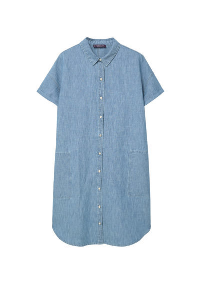 Light Denim Dress - style: shirt; length: mid thigh; neckline: shirt collar/peter pan/zip with opening; pattern: plain; predominant colour: denim; occasions: casual; fit: straight cut; fibres: cotton - 100%; sleeve length: short sleeve; sleeve style: standard; texture group: denim; pattern type: fabric; season: s/s 2016; wardrobe: basic