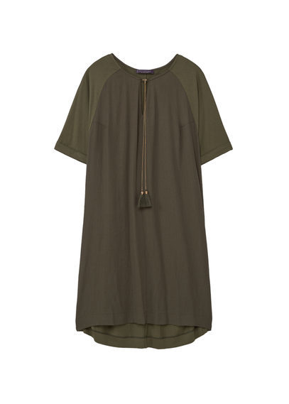 Tassel Shift Dress - style: smock; length: mid thigh; fit: loose; pattern: plain; neckline: pussy bow; predominant colour: dark green; occasions: casual; fibres: polyester/polyamide - 100%; sleeve length: short sleeve; sleeve style: standard; texture group: crepes; pattern type: fabric; season: s/s 2016; wardrobe: highlight
