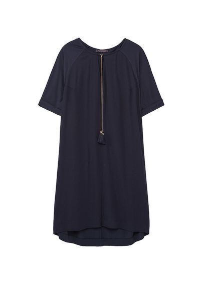 Tassel Shift Dress - style: shift; pattern: plain; predominant colour: navy; occasions: evening; length: just above the knee; fit: body skimming; fibres: cotton - 100%; neckline: crew; sleeve length: short sleeve; sleeve style: standard; pattern type: fabric; texture group: other - light to midweight; season: s/s 2016; wardrobe: event