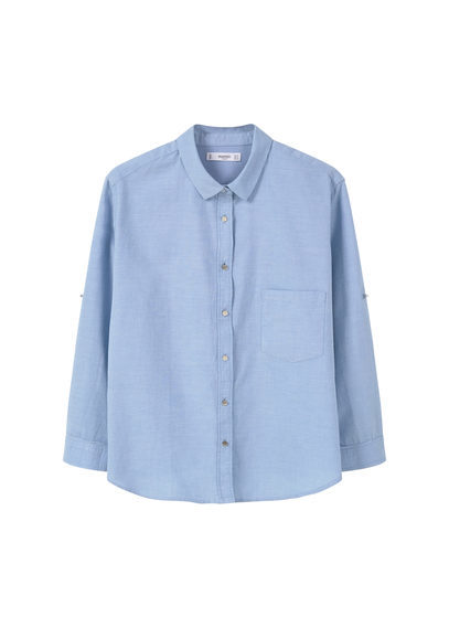 Cotton Shirt - neckline: shirt collar/peter pan/zip with opening; pattern: plain; style: shirt; predominant colour: pale blue; occasions: casual, creative work; length: standard; fibres: cotton - 100%; fit: straight cut; sleeve length: long sleeve; sleeve style: standard; texture group: cotton feel fabrics; pattern type: fabric; season: s/s 2016; wardrobe: highlight