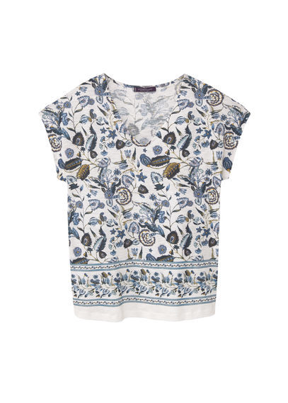 Printed Cotton T Shirt - neckline: round neck; sleeve style: capped; style: t-shirt; predominant colour: white; secondary colour: navy; occasions: casual; length: standard; fibres: cotton - 100%; fit: loose; sleeve length: short sleeve; pattern type: fabric; pattern size: standard; pattern: florals; texture group: jersey - stretchy/drapey; multicoloured: multicoloured; season: s/s 2016; wardrobe: highlight
