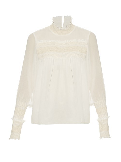 Smocked High Neck Crepe Blouse - pattern: plain; neckline: high neck; style: blouse; predominant colour: white; occasions: casual; length: standard; fibres: polyester/polyamide - 100%; fit: body skimming; sleeve length: long sleeve; sleeve style: standard; texture group: crepes; pattern type: fabric; season: s/s 2016; wardrobe: basic
