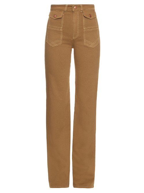 High Rise Flared Cotton Canvas Trousers - length: standard; pattern: plain; waist: high rise; predominant colour: tan; fibres: cotton - 100%; fit: straight leg; pattern type: fabric; texture group: other - light to midweight; style: standard; occasions: creative work; season: s/s 2016; wardrobe: highlight