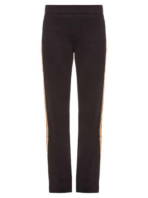 Contrast Side Jersey Track Pants - length: standard; pattern: plain; hip detail: front pockets at hip; waist: high rise; pocket detail: pockets at the sides; predominant colour: black; occasions: casual; fibres: cotton - mix; fit: straight leg; pattern type: fabric; texture group: jersey - stretchy/drapey; style: standard; season: s/s 2016
