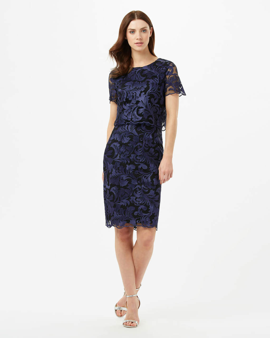 Adelphia Lace Layer Dress - style: shift; fit: tailored/fitted; predominant colour: navy; occasions: evening; length: just above the knee; fibres: polyester/polyamide - 100%; neckline: crew; sleeve length: short sleeve; sleeve style: standard; texture group: lace; pattern type: fabric; pattern size: standard; pattern: patterned/print; season: s/s 2016; wardrobe: event