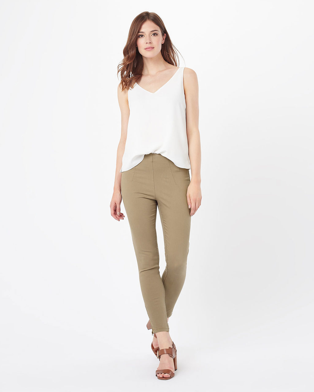 Amina Zip 7/8th Jegging - style: skinny leg; length: standard; pattern: plain; pocket detail: traditional 5 pocket; waist: mid/regular rise; predominant colour: camel; occasions: casual; fibres: cotton - stretch; texture group: denim; pattern type: fabric; season: s/s 2016; wardrobe: highlight