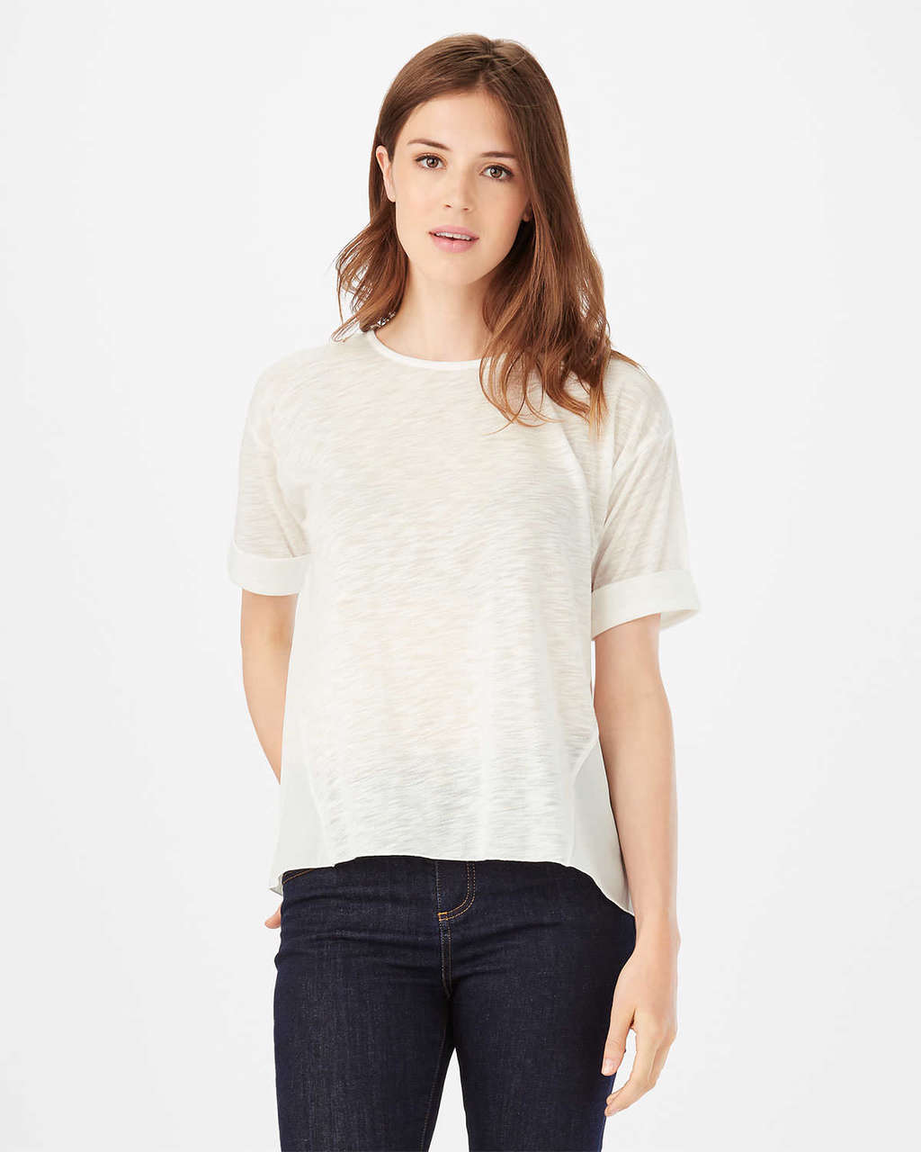 Sophie Slub Top - pattern: plain; style: t-shirt; predominant colour: white; occasions: casual; length: standard; fibres: polyester/polyamide - 100%; fit: body skimming; neckline: crew; sleeve length: short sleeve; sleeve style: standard; pattern type: fabric; texture group: other - light to midweight; season: s/s 2016