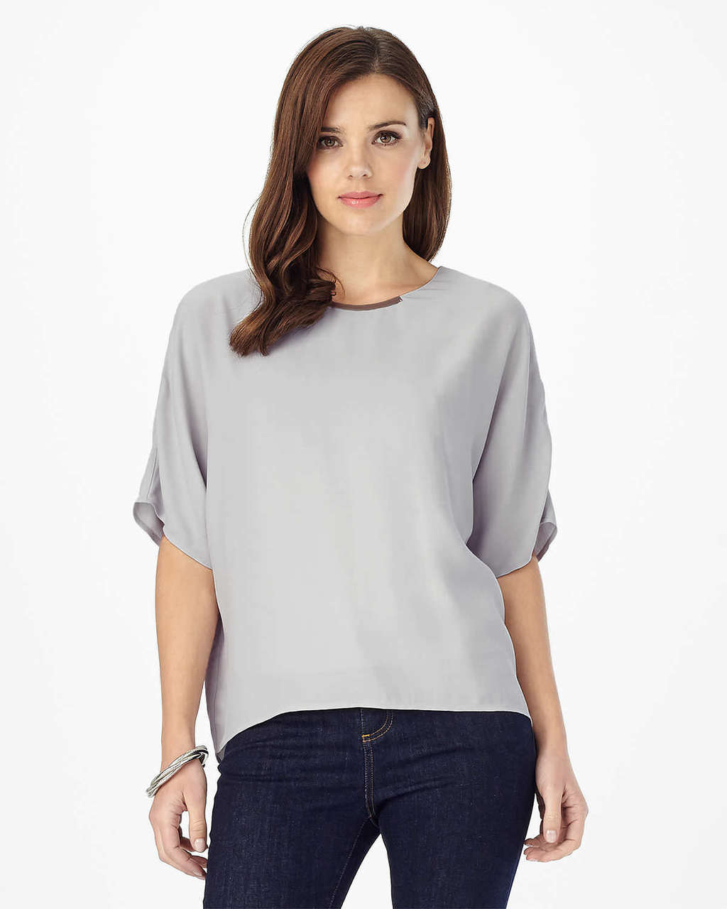 Leila Metal Bar Trim Blouse - pattern: plain; style: blouse; predominant colour: light grey; occasions: casual; length: standard; fibres: viscose/rayon - 100%; fit: loose; neckline: crew; sleeve length: half sleeve; sleeve style: standard; pattern type: fabric; texture group: other - light to midweight; season: s/s 2016; wardrobe: basic