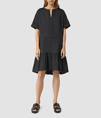 Farah Dress - style: smock; neckline: v-neck; fit: loose; pattern: plain; predominant colour: black; occasions: casual; length: just above the knee; fibres: cotton - 100%; hip detail: adds bulk at the hips; sleeve length: short sleeve; sleeve style: standard; texture group: cotton feel fabrics; pattern type: fabric; season: s/s 2016; wardrobe: highlight