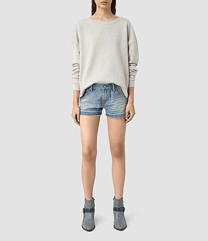 Kim Shorts - pattern: plain; pocket detail: traditional 5 pocket; waist: mid/regular rise; predominant colour: denim; occasions: casual, holiday; fibres: cotton - stretch; texture group: denim; pattern type: fabric; season: s/s 2016; style: denim; length: short shorts; fit: slim leg; wardrobe: holiday