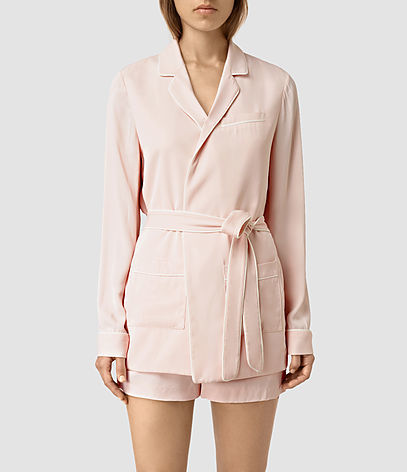 Ivana Blazer - pattern: plain; style: belted jacket; length: below the bottom; fit: slim fit; collar: standard lapel/rever collar; predominant colour: blush; occasions: casual; fibres: viscose/rayon - 100%; waist detail: belted waist/tie at waist/drawstring; sleeve length: long sleeve; sleeve style: standard; collar break: medium; pattern type: fabric; texture group: woven light midweight; season: s/s 2016; wardrobe: basic