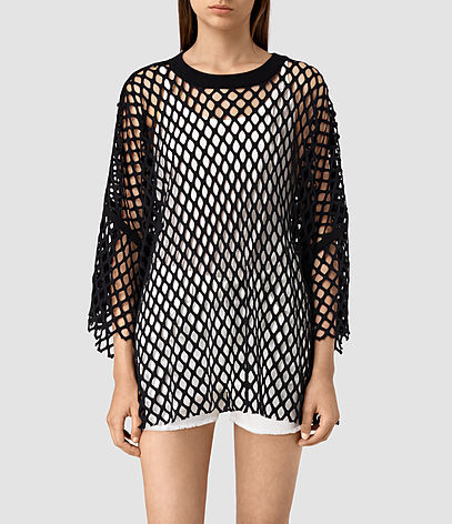 Roma Mesh Tee - neckline: round neck; style: t-shirt; predominant colour: black; occasions: casual, holiday; fibres: cotton - 100%; fit: loose; length: mid thigh; sleeve length: 3/4 length; sleeve style: standard; pattern type: fabric; pattern: patterned/print; texture group: other - light to midweight; pattern size: big & busy (top); season: s/s 2016