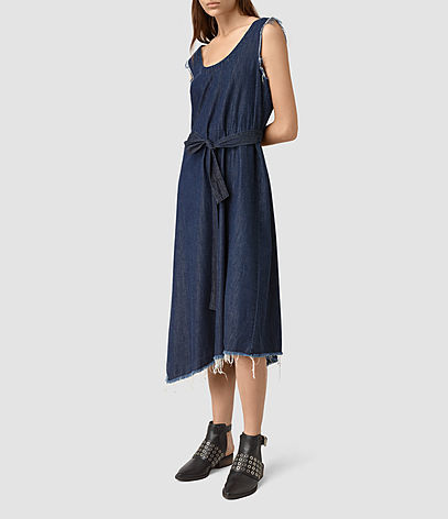Kayne Dress - length: calf length; fit: loose; pattern: plain; sleeve style: sleeveless; style: sundress; waist detail: belted waist/tie at waist/drawstring; predominant colour: navy; occasions: casual; neckline: scoop; fibres: cotton - mix; sleeve length: sleeveless; texture group: denim; pattern type: fabric; season: s/s 2016