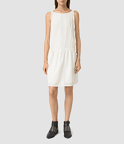 Milda Dress - style: shift; neckline: slash/boat neckline; pattern: plain; sleeve style: sleeveless; predominant colour: ivory/cream; occasions: casual, holiday, creative work; length: just above the knee; fit: soft a-line; fibres: cotton - 100%; sleeve length: sleeveless; texture group: cotton feel fabrics; pattern type: fabric; season: s/s 2016